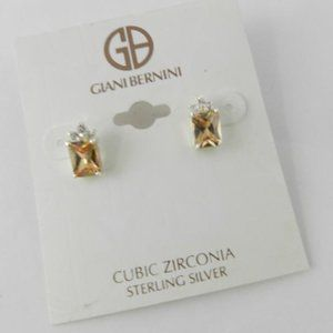 Giani Bernini  Champagne & Clear CZ 925 SS Earring